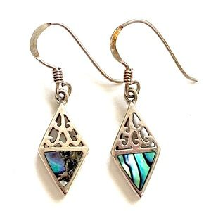 Abalone Sterling Silver Dangle Earrings 925
